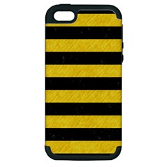 Stripes2 Black Marble & Yellow Colored Pencil Apple Iphone 5 Hardshell Case (pc+silicone)