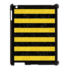 Stripes2 Black Marble & Yellow Colored Pencil Apple Ipad 3/4 Case (black)