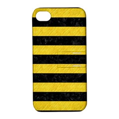 Stripes2 Black Marble & Yellow Colored Pencil Apple Iphone 4/4s Hardshell Case With Stand