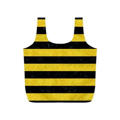 Stripes2 Black Marble & Yellow Colored Pencil Full Print Recycle Bags (s)