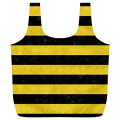 Stripes2 Black Marble & Yellow Colored Pencil Full Print Recycle Bags (l)
