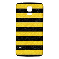 Stripes2 Black Marble & Yellow Colored Pencil Samsung Galaxy S5 Back Case (white)