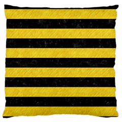 Stripes2 Black Marble & Yellow Colored Pencil Large Flano Cushion Case (two Sides)