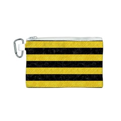 Stripes2 Black Marble & Yellow Colored Pencil Canvas Cosmetic Bag (s)