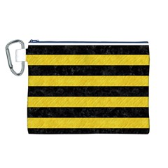 Stripes2 Black Marble & Yellow Colored Pencil Canvas Cosmetic Bag (l)