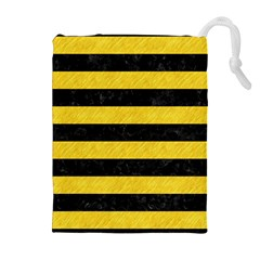 Stripes2 Black Marble & Yellow Colored Pencil Drawstring Pouches (extra Large)