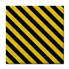 Stripes3 Black Marble & Yellow Colored Pencil Tile Coasters