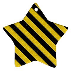 Stripes3 Black Marble & Yellow Colored Pencil Ornament (star)