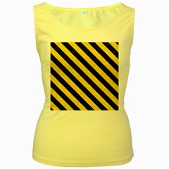 Stripes3 Black Marble & Yellow Colored Pencil Women s Yellow Tank Top
