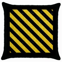 Stripes3 Black Marble & Yellow Colored Pencil Throw Pillow Case (black)