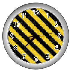 Stripes3 Black Marble & Yellow Colored Pencil Wall Clocks (silver)
