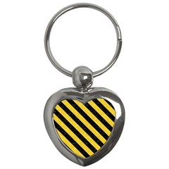 Stripes3 Black Marble & Yellow Colored Pencil Key Chains (heart)
