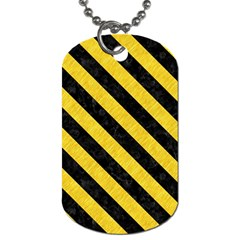 Stripes3 Black Marble & Yellow Colored Pencil Dog Tag (two Sides)