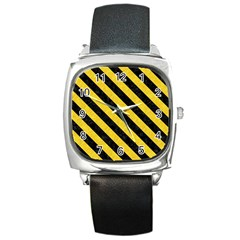 Stripes3 Black Marble & Yellow Colored Pencil Square Metal Watch