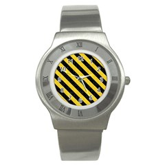 Stripes3 Black Marble & Yellow Colored Pencil Stainless Steel Watch
