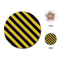 Stripes3 Black Marble & Yellow Colored Pencil Playing Cards (round)