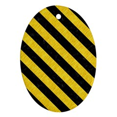 Stripes3 Black Marble & Yellow Colored Pencil Oval Ornament (two Sides)