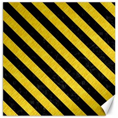 Stripes3 Black Marble & Yellow Colored Pencil Canvas 20  X 20