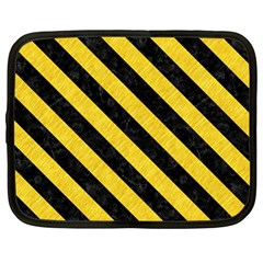 Stripes3 Black Marble & Yellow Colored Pencil Netbook Case (large)
