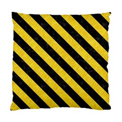 Stripes3 Black Marble & Yellow Colored Pencil Standard Cushion Case (one Side)