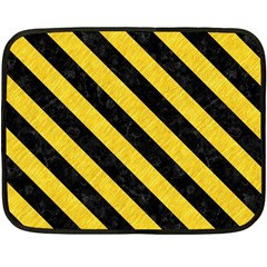 Stripes3 Black Marble & Yellow Colored Pencil Double Sided Fleece Blanket (mini)