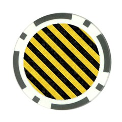 Stripes3 Black Marble & Yellow Colored Pencil Poker Chip Card Guard (10 Pack)