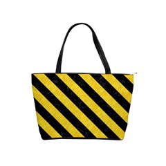 Stripes3 Black Marble & Yellow Colored Pencil Shoulder Handbags