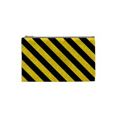 Stripes3 Black Marble & Yellow Colored Pencil Cosmetic Bag (small)