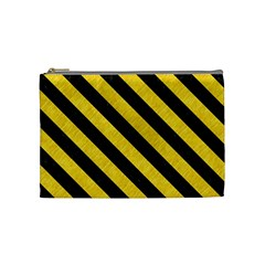 Stripes3 Black Marble & Yellow Colored Pencil Cosmetic Bag (medium)