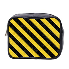 Stripes3 Black Marble & Yellow Colored Pencil Mini Toiletries Bag 2 Side