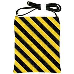 Stripes3 Black Marble & Yellow Colored Pencil Shoulder Sling Bags