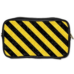 Stripes3 Black Marble & Yellow Colored Pencil Toiletries Bags 2 Side