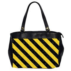 Stripes3 Black Marble & Yellow Colored Pencil Office Handbags (2 Sides)