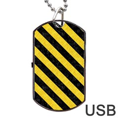 Stripes3 Black Marble & Yellow Colored Pencil Dog Tag Usb Flash (two Sides)
