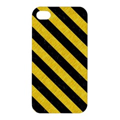 Stripes3 Black Marble & Yellow Colored Pencil Apple Iphone 4/4s Hardshell Case