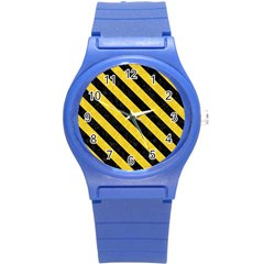 Stripes3 Black Marble & Yellow Colored Pencil Round Plastic Sport Watch (s)