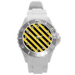 Stripes3 Black Marble & Yellow Colored Pencil Round Plastic Sport Watch (l)