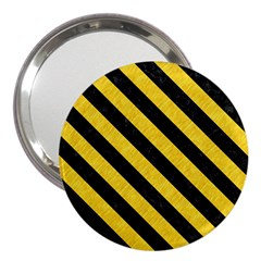 Stripes3 Black Marble & Yellow Colored Pencil 3  Handbag Mirrors