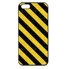 Stripes3 Black Marble & Yellow Colored Pencil Apple Iphone 5 Seamless Case (black)