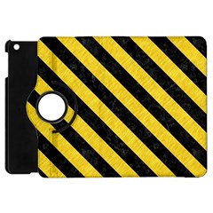 Stripes3 Black Marble & Yellow Colored Pencil Apple Ipad Mini Flip 360 Case