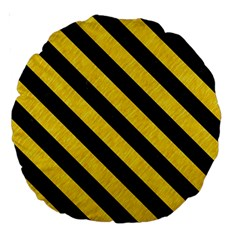Stripes3 Black Marble & Yellow Colored Pencil Large 18  Premium Round Cushions