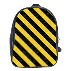 Stripes3 Black Marble & Yellow Colored Pencil School Bag (xl)