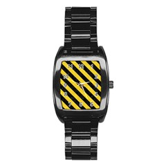 Stripes3 Black Marble & Yellow Colored Pencil Stainless Steel Barrel Watch