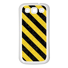 Stripes3 Black Marble & Yellow Colored Pencil Samsung Galaxy S3 Back Case (white)