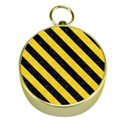 Stripes3 Black Marble & Yellow Colored Pencil Gold Compasses
