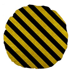 Stripes3 Black Marble & Yellow Colored Pencil Large 18  Premium Flano Round Cushions
