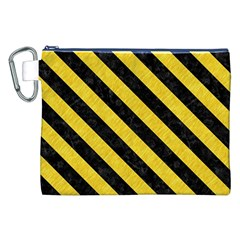 Stripes3 Black Marble & Yellow Colored Pencil Canvas Cosmetic Bag (xxl)