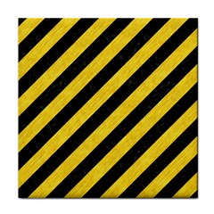 Stripes3 Black Marble & Yellow Colored Pencil (r) Tile Coasters
