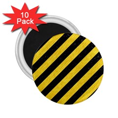 Stripes3 Black Marble & Yellow Colored Pencil (r) 2 25  Magnets (10 Pack)