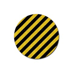 Stripes3 Black Marble & Yellow Colored Pencil (r) Rubber Coaster (round)